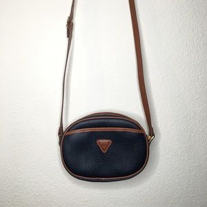 Guess Vintage Leather crossbody Bag Navy / Brown